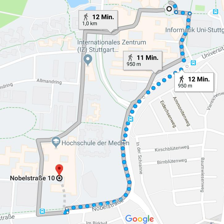 "Walking route from S-Bahn station ""Universität"" to conference venue at HdM:"